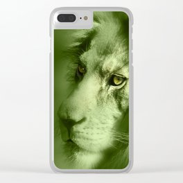 Fantasy Lion of Legend in Green-Glow Clear iPhone Case