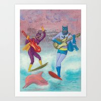 surfing Art Prints featuring surfing by Robert Deutsch