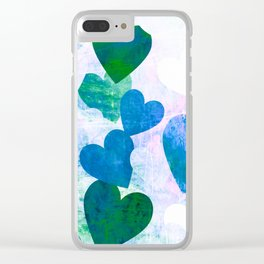 Fab Green & Blue Grungy Hearts Design Clear iPhone Case