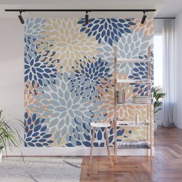Floral Bloom Pattern, Blue, Light Blue, Peach Wall Mural
