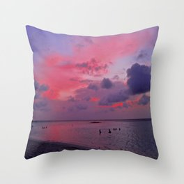 Swimming Towards Sundown Throw Pillow