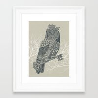 king Framed Art Prints featuring Owl King by Rachel Caldwell