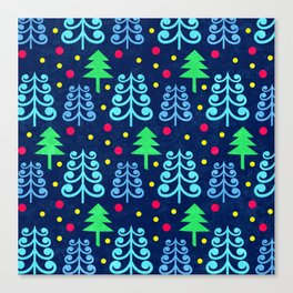 Christmas trees pattern Canvas Print
