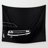 muscle Wall Tapestries featuring Classic American Muscle Car by the lazy pigeon