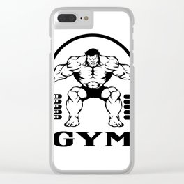 Bodybuilder with barbell Clear iPhone Case