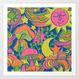 Psychedelic Daydream in Neon + Blue Art Print