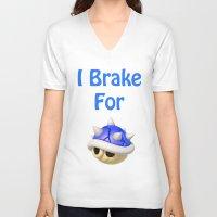 mario kart V-neck T-shirts featuring I Brake For Blue Shells (Mario Kart)  by Don Enrique