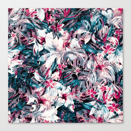 Seamless Floral And Paisley Pattern Canvas Print