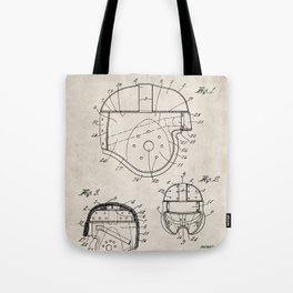 Football Helmet Patent - Football Art - Antique Tote Bag