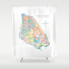 Mackinac Island Map : pastels Shower Curtain