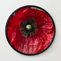 poppy Wall Clocks featuring Poppy by Maria Heyens