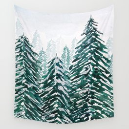 snowy pine forest in green Wall Tapestry