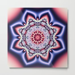 Fantasy pattern flower in purple,pink, blue & salmon Metal Print