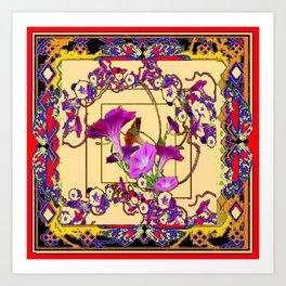 Red Decorative  Blue Purple Vining Flowers Patterns  Art Art Print
