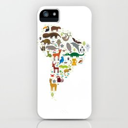 South America sloth anteater toucan lama bat fur seal armadillo boa manatee monkey dolphin iPhone Case