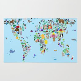 Animal Map of the World Rug
