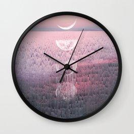 Glitches at Sunset Wall Clock