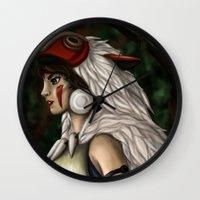 princess mononoke Wall Clocks featuring Princess Mononoke by Curious Nonsense.