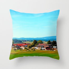 Vibrant scenery in autumn season Throw Pillow