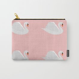 white swan on pink Carry-All Pouch