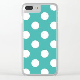 Large Polka Dots - White on Verdigris Clear iPhone Case
