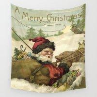 santa Wall Tapestries featuring Vintage Santa  by LebensART