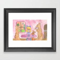 Goldilocks Having Tea Framed Art Print