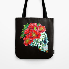 Sugar Skull with Red Poppies Tote Bag