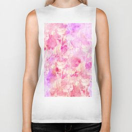 Girly Pink and Purple Painted Sparkly Watercolor Biker Tank