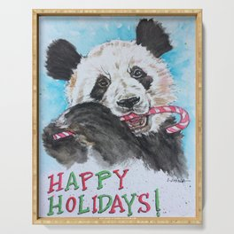 Candy Cane Panda Serving Tray