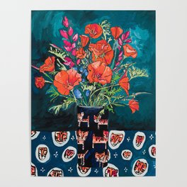 California Poppy and Wildflower Bouquet on Emerald with Tigers Still Life Painting Poster