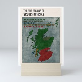The Five Regions of Scotch Whisky (woodpress) Mini Art Print