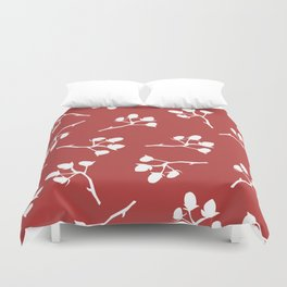 Berry Christmas Pattern, red background Duvet Cover
