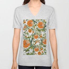 Orange Spring Summer Flowers Boho Unisex V-Neck
