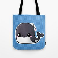 killer whale Tote Bags featuring Kawaii Killer Whale by Katie White
