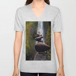 Stone Carin, Oneonta Falls, Oneonta Gorge, Oregon Unisex V-Neck