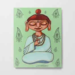 Meditating Buddha With Paisley Design Metal Print