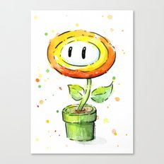 Fire Flower Watercolor Painting Mario Game Geek Art Canvas Print