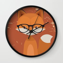 Hipster Fox Wall Clock