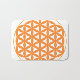 Orange Flower of life Bath Mat