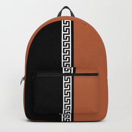 Greek Key 2 - Brown and Black Backpack