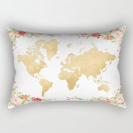 Floral and gold world map without labels Rectangular Pillow