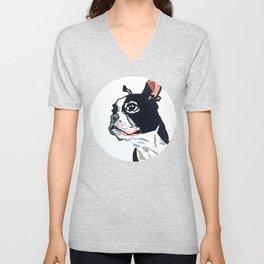 Boston Terrier Dog Portrait Unisex V-Neck