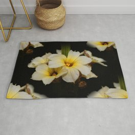 Yellow Mexican Satin Flowers Rug