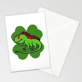 Iguana On 4 Leaf Clover- St. Patricks Day Funny Stationery Cards