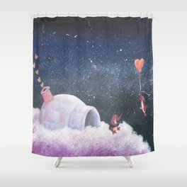 Penguin Lovers and Their New Home in the Stars Shower Curtain