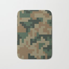 Green and Brown Pixel Camo pattern Bath Mat