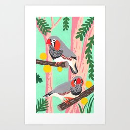 Zebra finches on nature Art Print