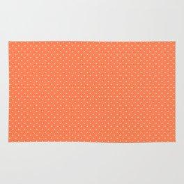 Living Coral Color Polkadots Rug