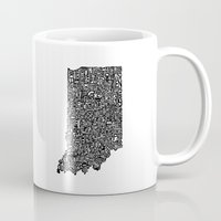 indiana Mugs featuring Typographic Indiana by CAPow!